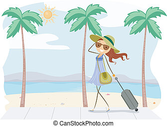 Summer Trip - Illustration of a Girl on Vacation