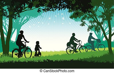 Summer trip - Illustration of a happy family cycling on a...