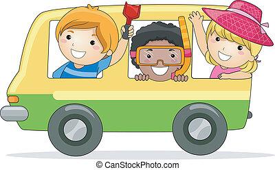 Summer Trip - Illustration of Kids on a Summer Trip