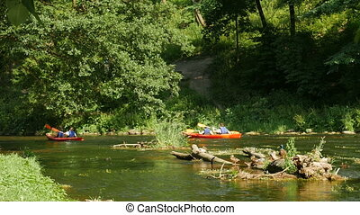 summer trip on the river by canoe