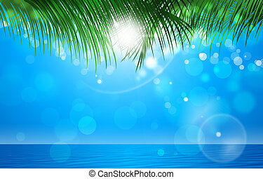 Summer Tropical Background - abstract summer tropical blue...