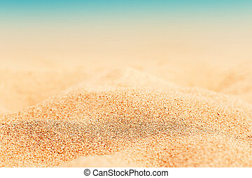 Summer tropical background with sand, sea and sky. Summertime card.
