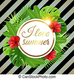 Summer tropical banner with red flowers