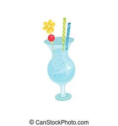 Summer tropical cocktail cartoon vector Illustration