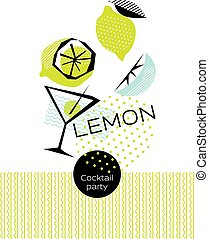 summer tropical cocktail party poster vector illustration. geometry modern style drink and berries elements