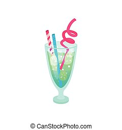 Summer tropical cocktail with straws cartoon vector Illustration