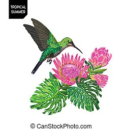 Summer Tropical Design with Hummingbird and Exotic Flowers. Floral Background with Tropic Bird, Protea and Monstera Palm Leaves. Vector illustration