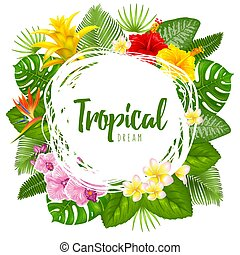 Summer tropical design for banner or flyer with exotic leaves and flowers. Vector illustration. Isolated on white background.