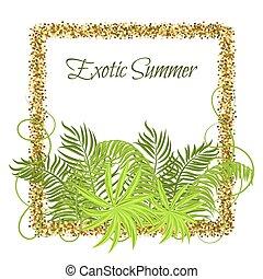 Summer Tropical Green Plants in glitter frame.