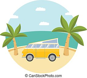 Summer tropical landscape with sandy the palm beach trees and the tourist camper van.