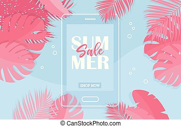 Summer Tropical Sale Banner with coral colors -Vector