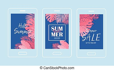 Summer Tropical Sale Banner Wth coral color -Vector