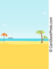 Summer tropical sea beach background vector illustration