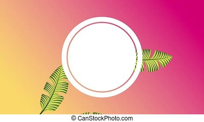 summer tropical template - botanical tropical round frame...