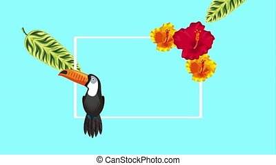 summer tropical template - cute exotic toucan tropical...