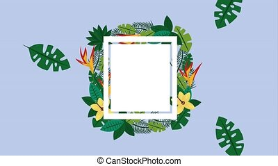 summer tropical template - empty card floral leaves exotic...
