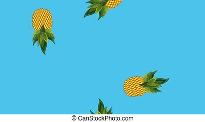 summer tropical template - falling pineapple exotic fruit...