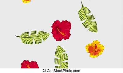 summer tropical template - red and yellow hibiscus flowers...