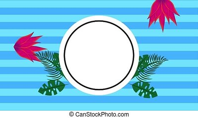 summer tropical template - round label with leaves and...