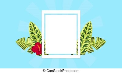 summer tropical template - square label decoration tropical...