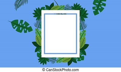 summer tropical template - square label tropical leaves...