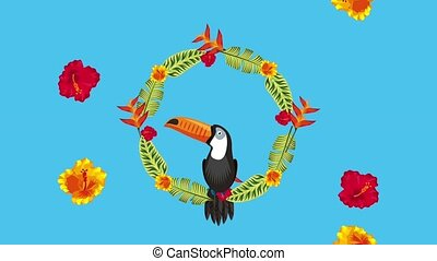 summer tropical template - toucan in floral wreath tropical...