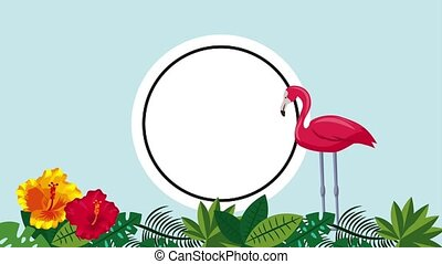 summer tropical template - tropical flamingo leaves plant...