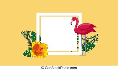 summer tropical template - tropical flowers pink flamingo...