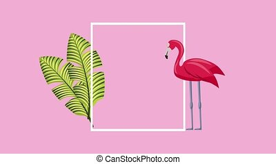 summer tropical template - tropical leaves palm and flamingo...