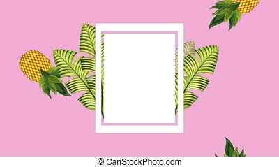 summer tropical template - tropical leaves pineapple with...