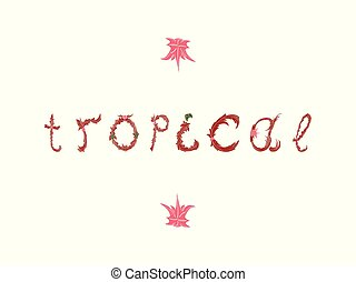 Summer tropical vector design for banner or flyer lettering.