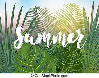 Summer tropical vector design for banner or flyer with  green palm leaves and lettering.