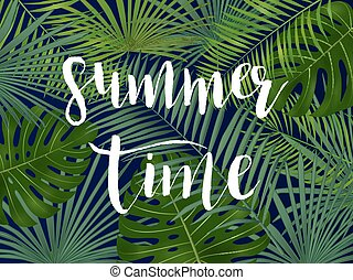 Summer tropical vector design for banner or flyer with  palm leaves