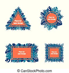 Summer tropical vector design for banner or leaflet with exotic leaves