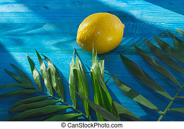 summer tropics concept with lemon and palm leaves