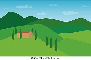 summer tuscany landscape- vector illustration
