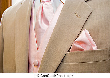 Summer Tuxedo - Pink tie accenting light tan tuxedo.