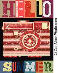 Summer typographic retro grunge poster with camera. Vector illustration.