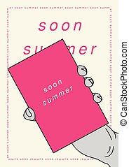 Summer typographical poster. Hand holding a tablet with an inscription. Vector illustration.