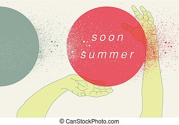 Summer typographical retro grunge poster with hands movement. Vector illustration.