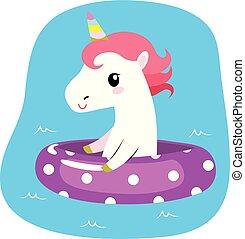 Summer Unicorn On Inflatable - Cute lovely unicorn on...