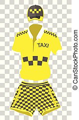 summer uniform set taxi driver: cap, shirt and shorts in style