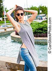 summer urban girl portrait