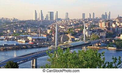 Summer urban scenery with The Galata bridge, Turkey