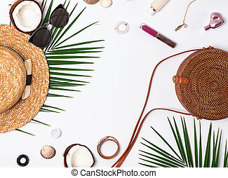 Summer vacation accessories on the white background