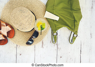 Summer vacation accessories top view