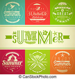 Set of summer vacation and holidays emblems with lettering and travel symbols - vector illustration