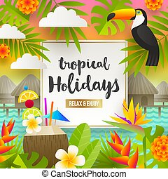 Summer vacation and holidays illustration - Flat vector...