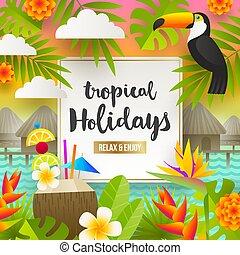 Summer vacation and holidays illustration - Flat vector ...