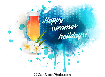 Summer vacation background - Summer background with cocktail...